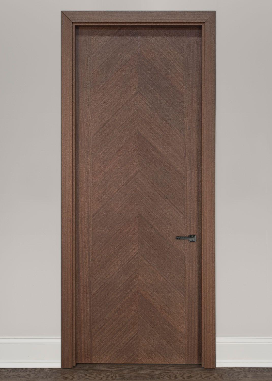 Modern Interior Door Custom Single Wood Veneer Solid Core