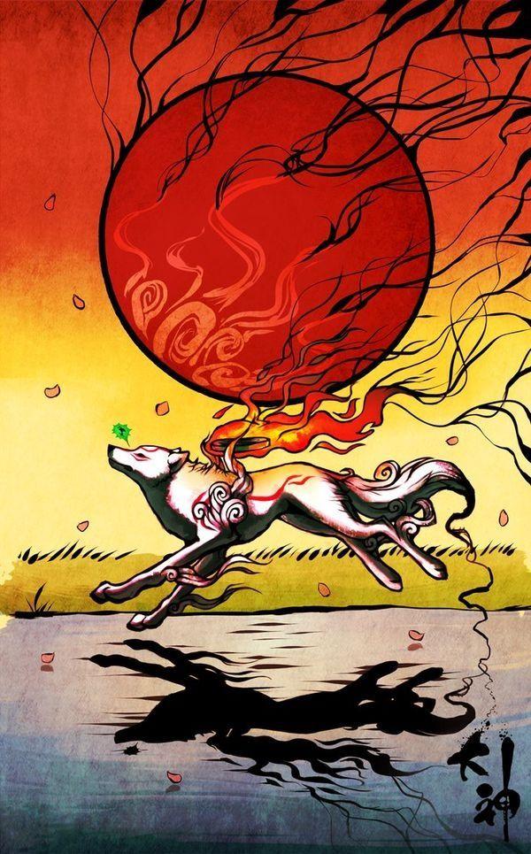 Okami Amaterasu Running Issun Amaterasu Capcom Art