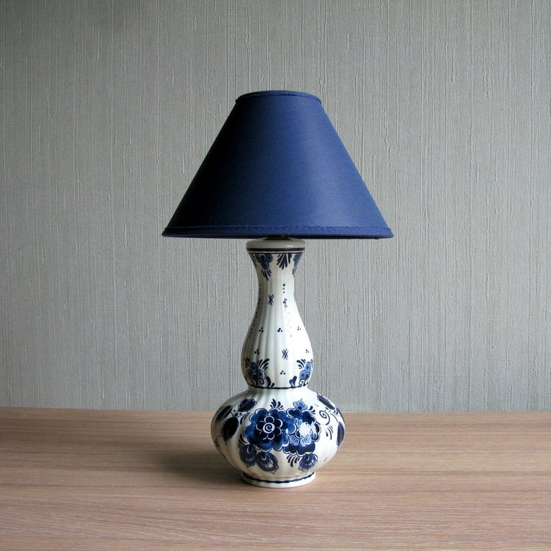 Delft Blue Table Lamp With Shade Blauw Delft Hand Painted Blue White Floral Accent Lamp Bedside Lamp Delft Lamp Holland 60s Blue Table Lamp Blue Table Lamp