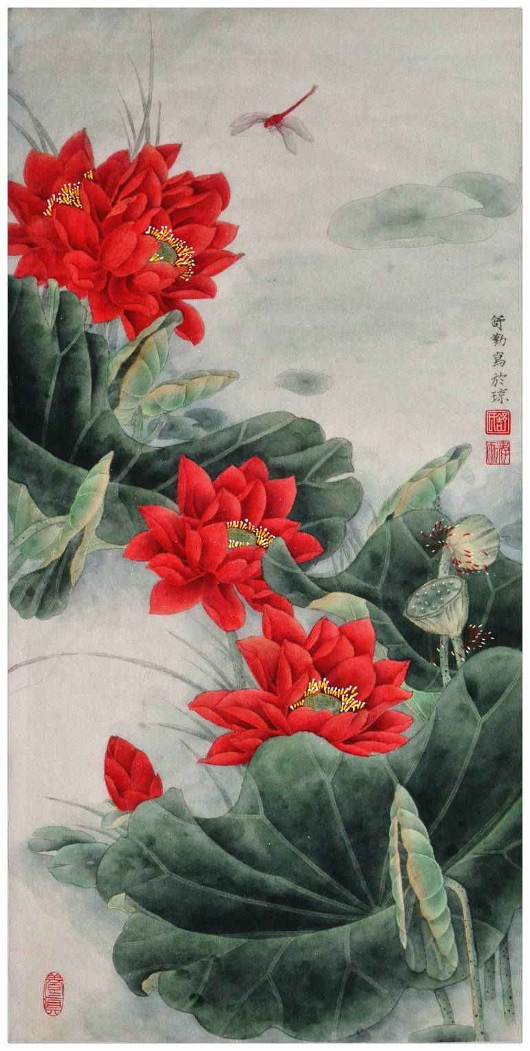 Original chinese gongbi painting red lotus flower in the sunshine this piece is an addition to my another popular painting lotus flower with moonlight i used classic s style to composite the picture izmirmasajfo