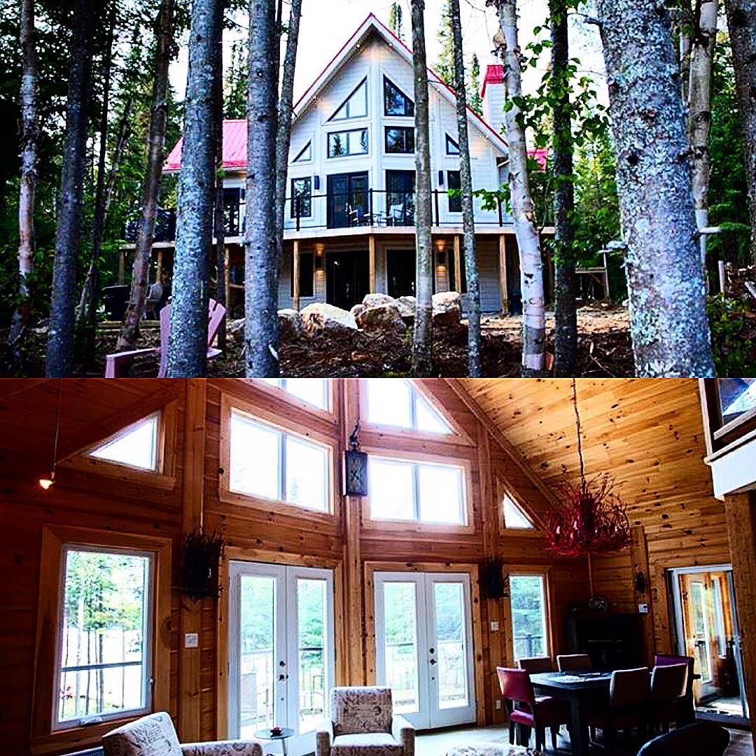 """We love how unique this is! These home owners left the thought of a more traditional stain behind! Plus, added more of a """"red"""" roof. Here's a peek on the inside, where they chose to keep more """"classic""""! Do you love? www.timberblock.com #timberblock #classichomes #loghome #cabin #customhomes. #buildgreen #followfriday #dreamhome #cottage #cottagelife #homebuilding #energyefficient"""