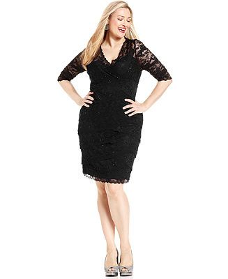 Marina Plus Size Beaded Lace Dress - Plus Size Dresses ...