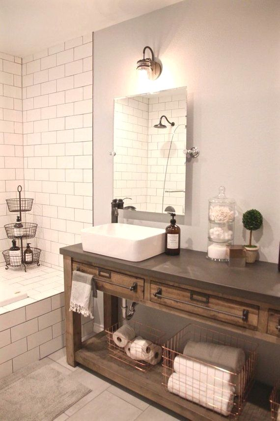 Wooden Bathroom Vanity. One shown is approximately 35 ...