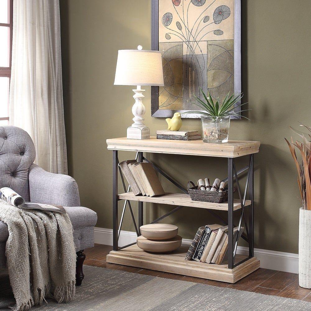 Gwen Natural And Black Open Back Shelf Etagere Bookcase Deep Shelves Furniture