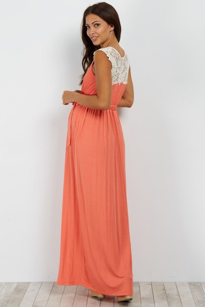 5ca86eac395cc We absolutely love this maternity maxi dress with a gorgeously feminine  crochet back detail. A versatile maxi style makes this dress perfect for  any ...