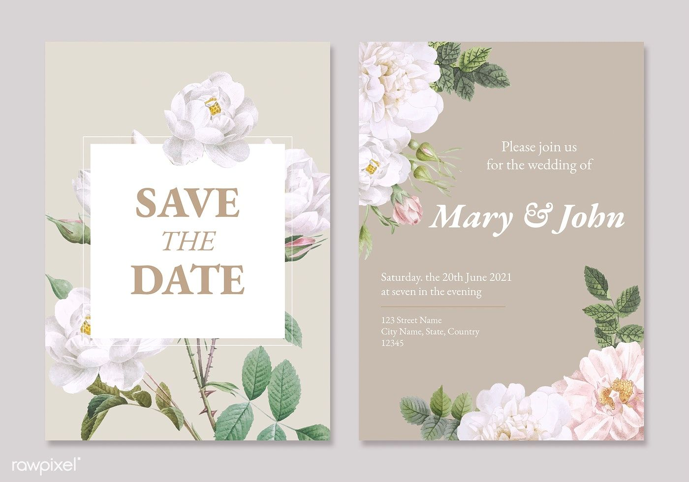 Download Premium Vector Of Floral Wedding Invitation Card Vectors Set Floral Wedding Invitations Wedding Invitation Card Template Floral Wedding Invitation Card