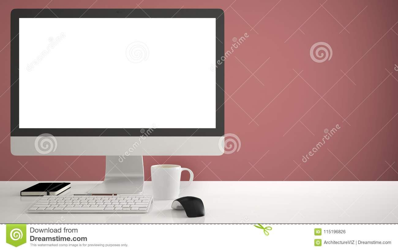 Desktop Mockup Template Computer On Work Desk With Blank Screen Keyboard Mouse And Notepad With Computer Computer Work Desk Work Desk