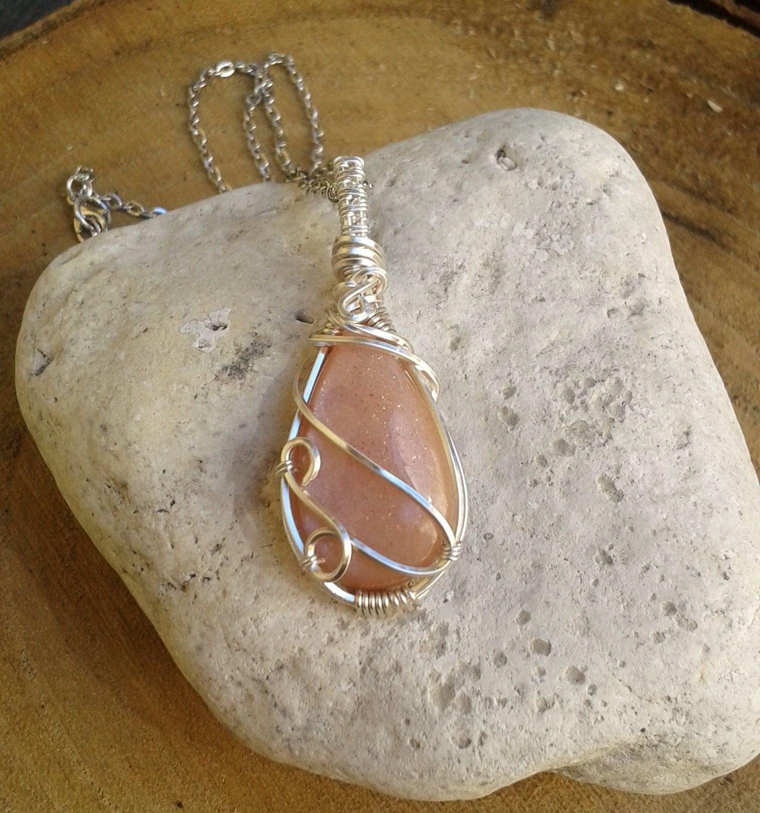 Crystal Jewelry Peach Moonstone Pendant Crystal Pendant Wiccan Moonstone pendant Wiccan Necklace Moonstone Necklace Crystal Necklace