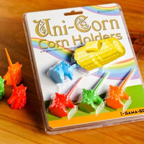 Unicorn Corn Holders.. Glad I'm not the only one who thought it was hilarious! Put your corn on a horn!