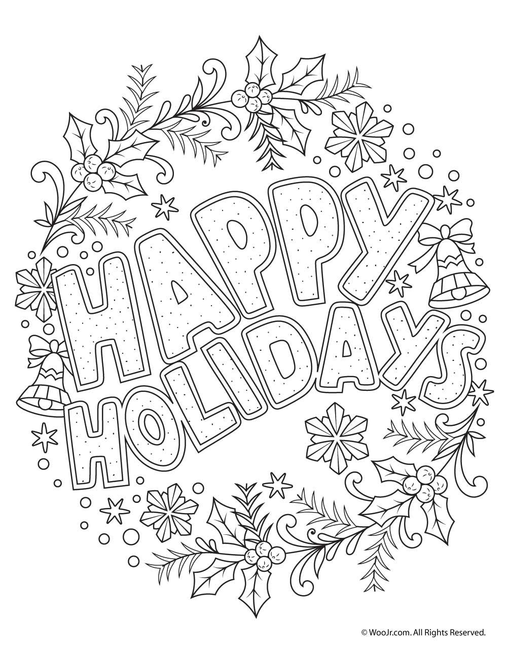 happy holidays adult coloring freebie holidays christmas coloring pages adult coloring. Black Bedroom Furniture Sets. Home Design Ideas