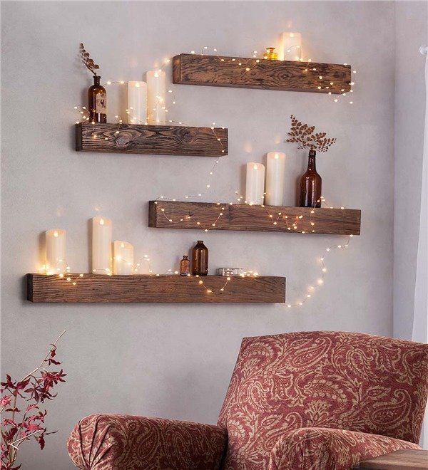 Rustic Wooden Wall Shelf #floatingshelves