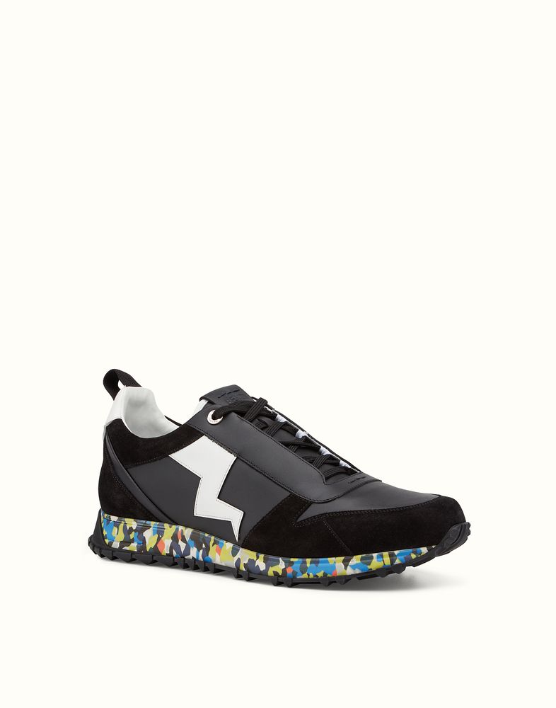 FENDI | SNEAKER black leather and suede lace-up