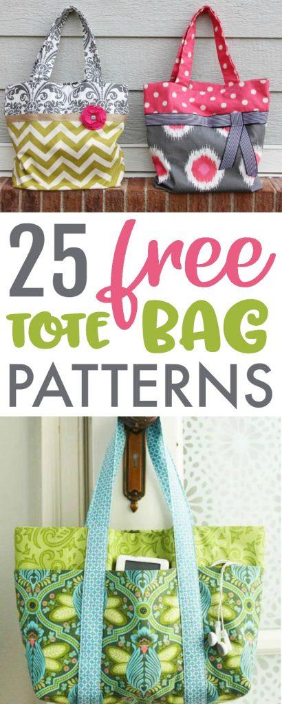 25 Free Tote Bag Patterns #bagpatterns