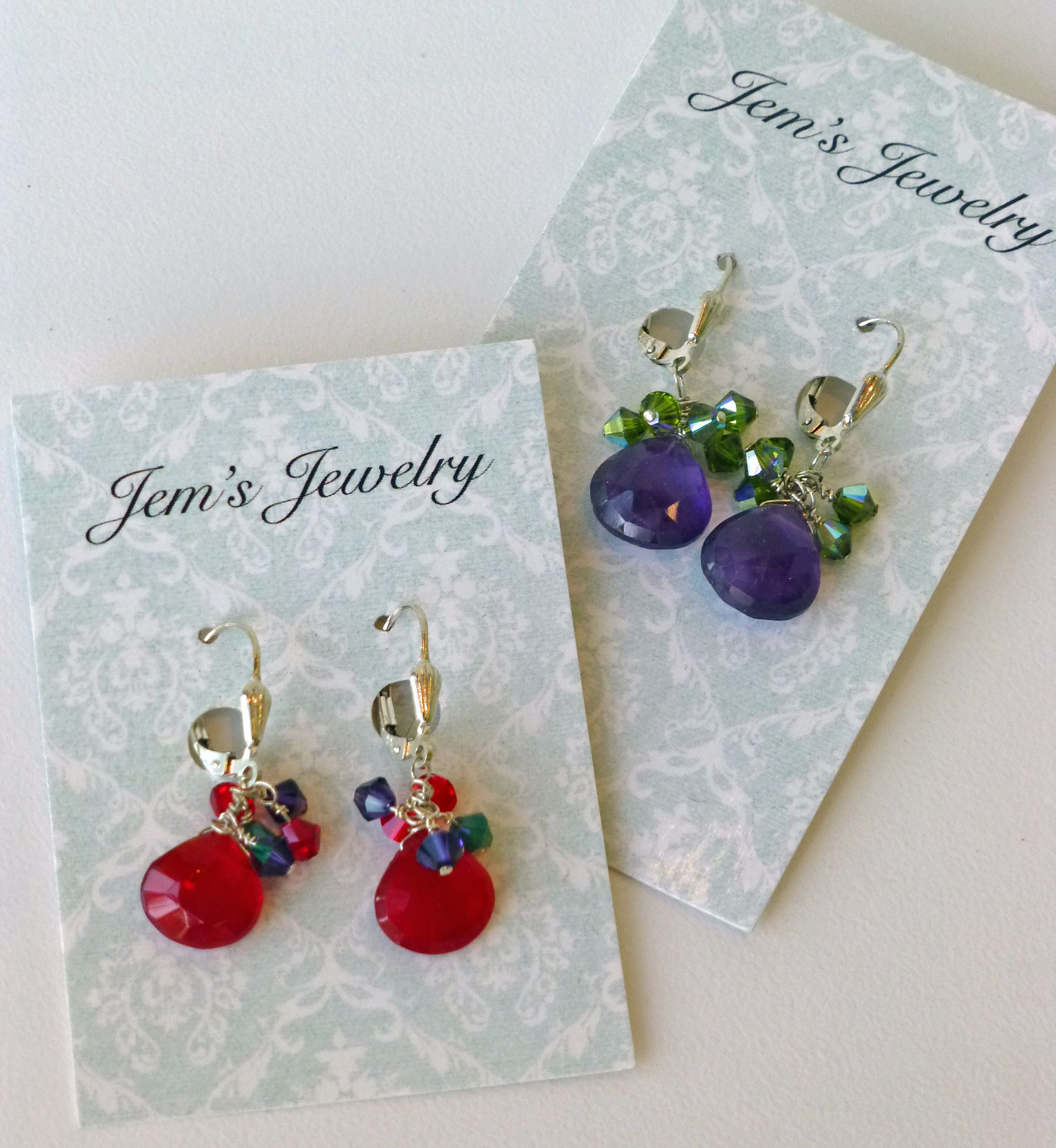 Mary Freiburger, Glass and crystal earrings, $26-60