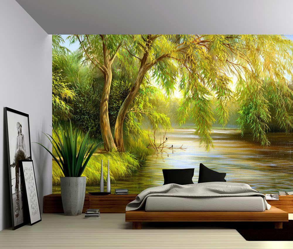 Tree River Bank Summer Landscape Large Wall Mural Etsy Large Wall Murals Forest Wall Mural Wall Murals