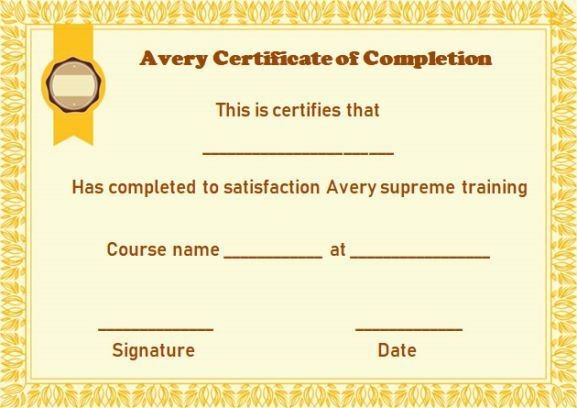 Avery Certificate Of Completion Template  Certificate Of