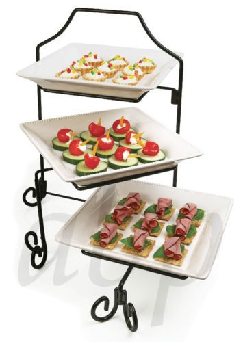Three Tiered Serving Platters Ceramic Wrought Iron Stand Brand New