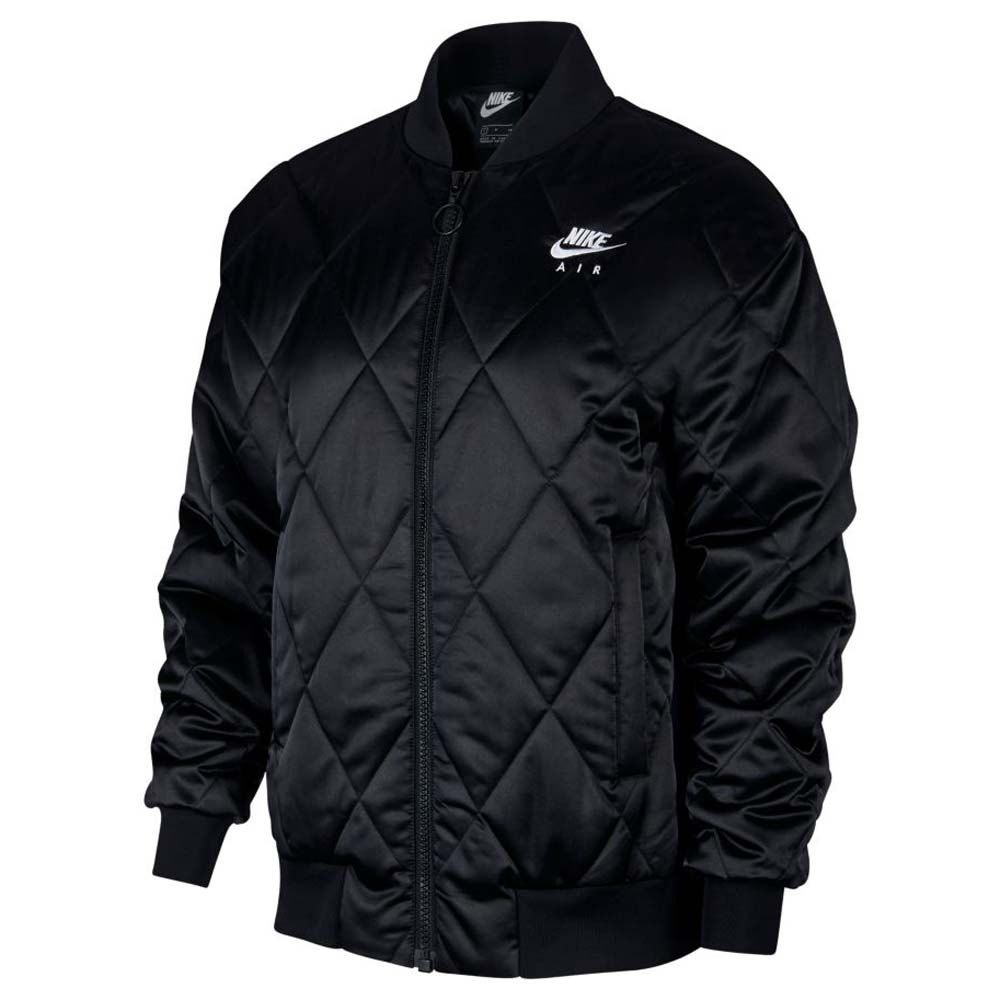 Nike Sportswear Air Synthetic Fill Satin Black Dressinn Bomber Jacket Women Satin Jackets Quilted Bomber Jacket [ 1000 x 1000 Pixel ]