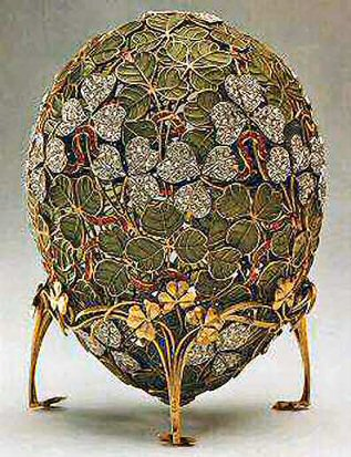 The clover leaf faberge egg made in 1902 for tzar nicholas ii the clover leaf faberge egg made in 1902 for tzar nicholas ii as an easter gift to his wife it is one of the few faberge eggs that have never left negle Gallery