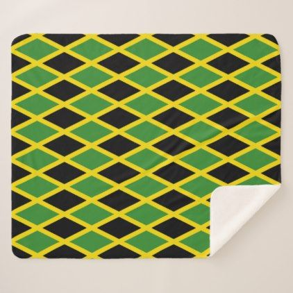Patriotic Sherpa Blanket with Jamaica flag | home gifts | Pinterest