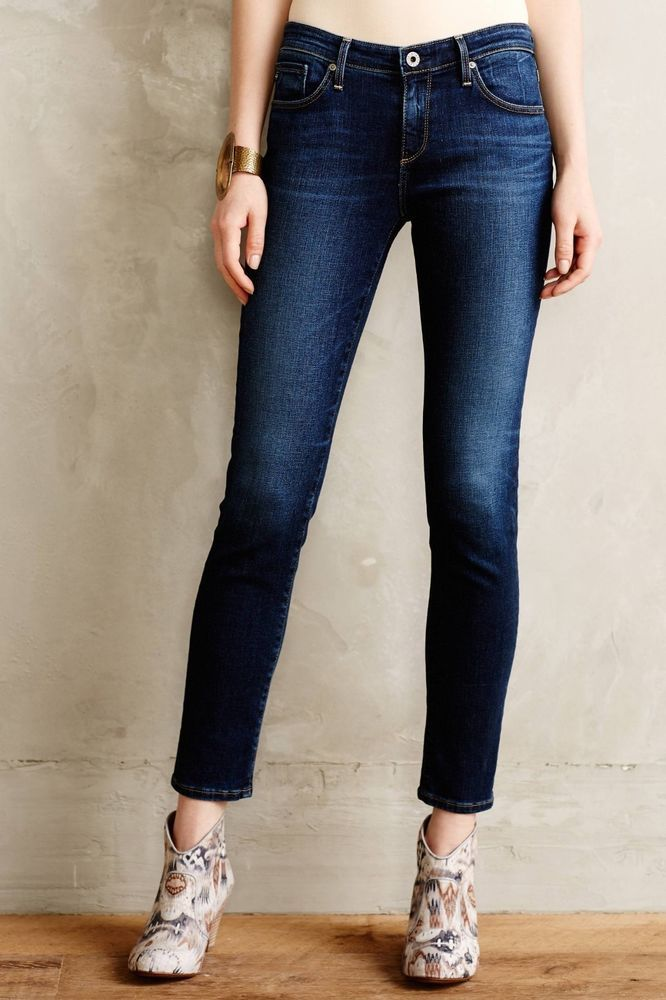b6608004a485 Anthropologie Women AG Medium Wash Stevie Ankle Slim Straight Jeans 6 / 28  X 29 #Anthropologie #StraightLeg