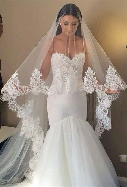 4 Meters White/Ivory Beautiful Cathedral Length Lace Edge ... |Beautiful Wedding Gowns With Veils