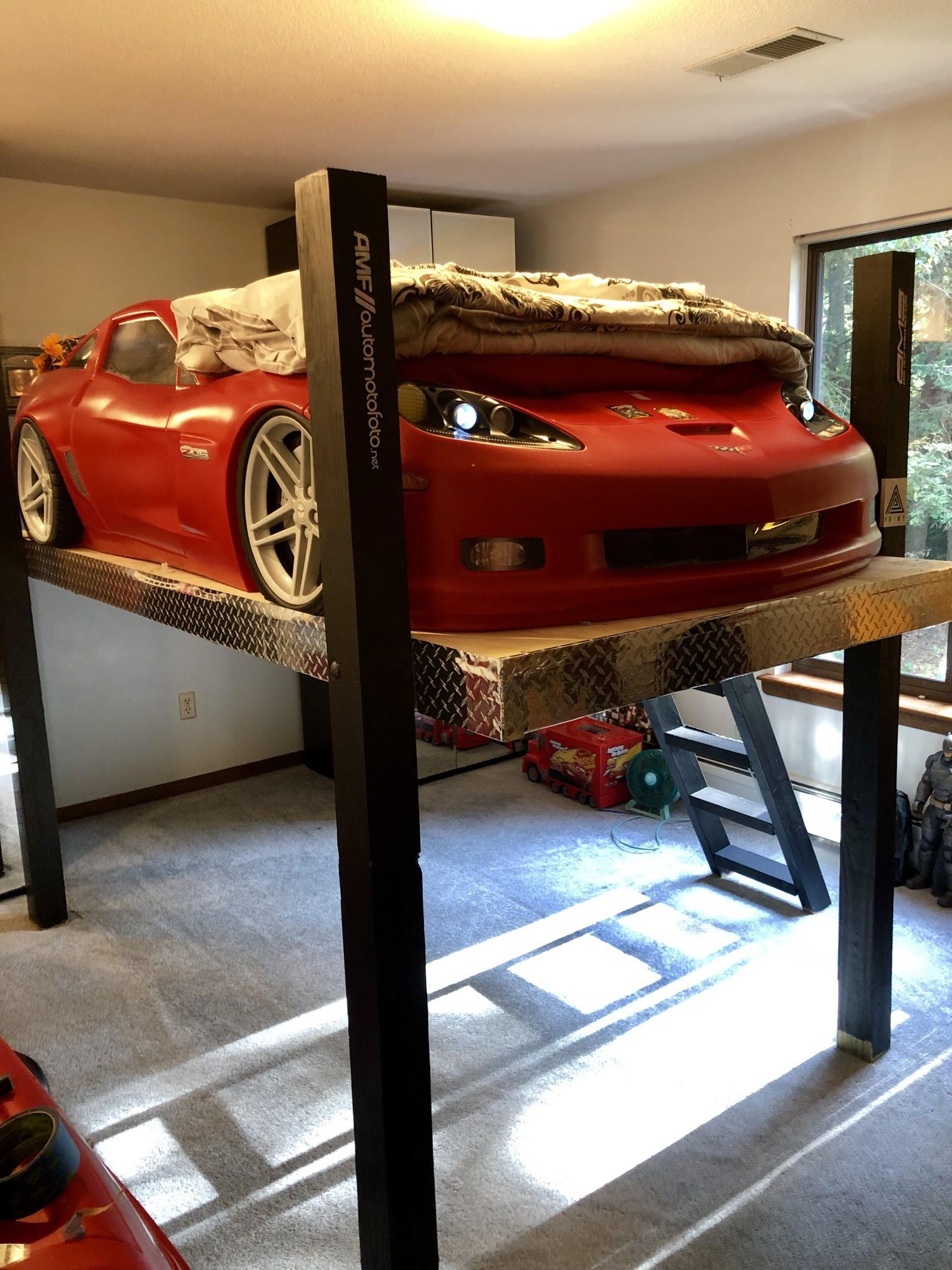 Boy S Bunkbed Is Transformed Into Garage Lift Complete