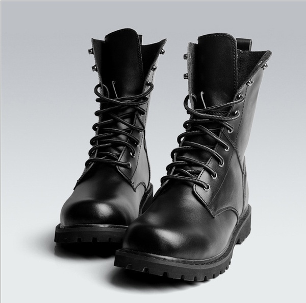 New Black Combat Leather Lace Up Mens