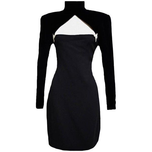 Preowned Carolyne Roehm Black Cocktail Dress (£485) ❤ liked on Polyvore featuring dresses, black, black dress, long sleeve black cocktail dress, black cocktail dresses, long sleeve cocktail dress and black square neck dress
