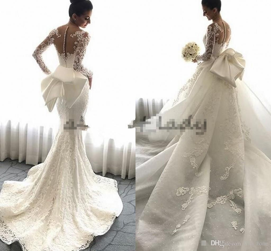 Steven khalil mermaid wedding dresses with detachable train big