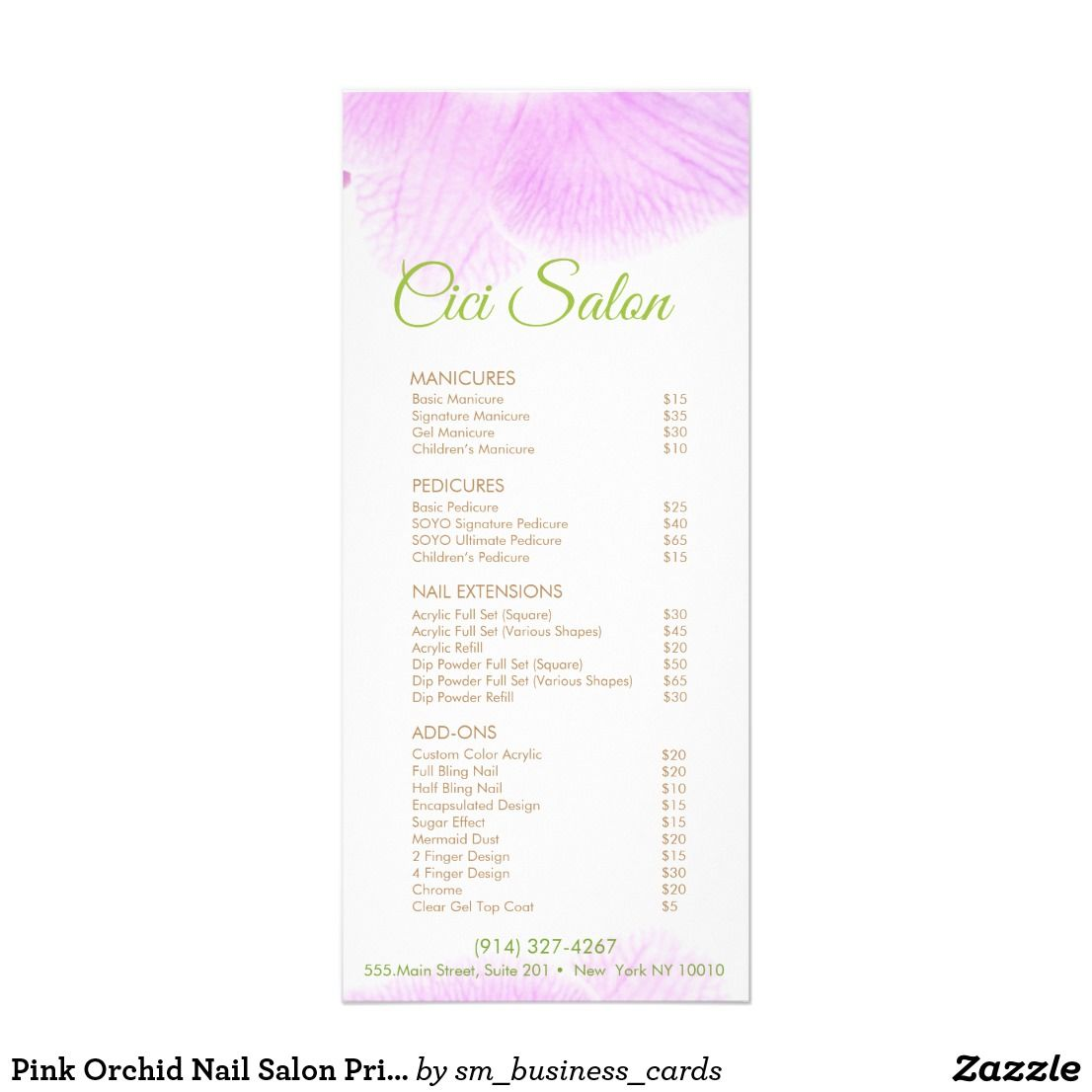 Pink Orchid Nail Salon Price List Service Menu  Nail Salon
