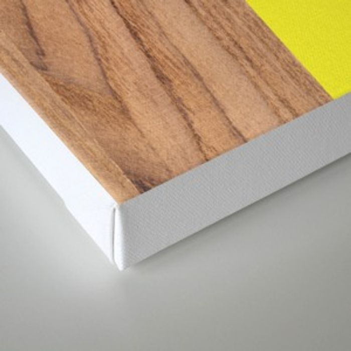 Stars Stripes Print On Natural Pine Wood: Yellow #255 Canvas Print By Natural