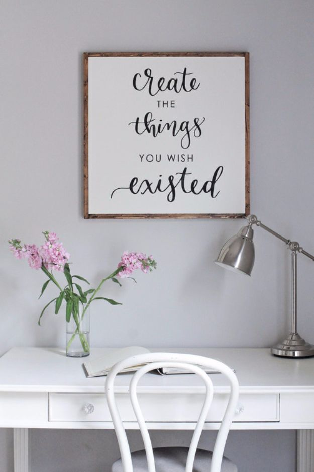 Marvelous DIY Farmhouse Style Decor Ideas For The Bedroom   DIY Wood Sign With  Calligraphy Quote