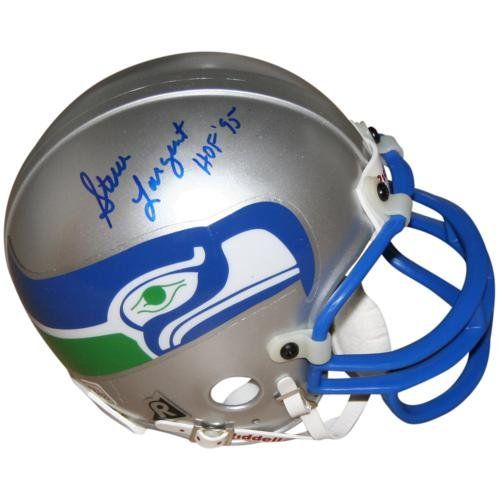44d903fe6d51f Steve Largent Autographed Seattle Seahawks (Throwback) Mini Helmet  PalmBeachAutographs.com