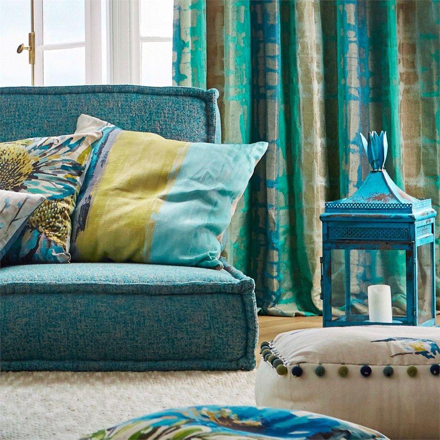 Telas para cortinas tapizar y cojines de harlequin for Cortinas salon rustico