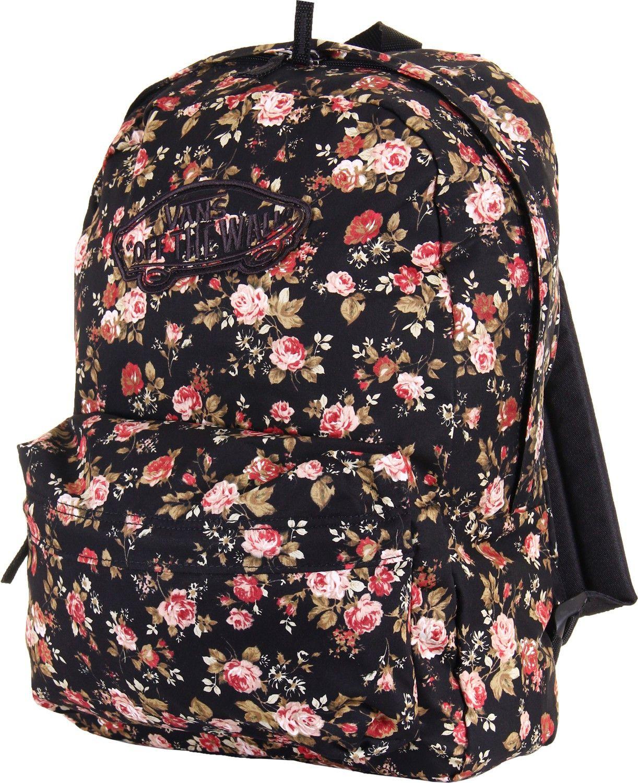 vans womens realm black floral backpack school bag sac d 39 cole pinterest. Black Bedroom Furniture Sets. Home Design Ideas