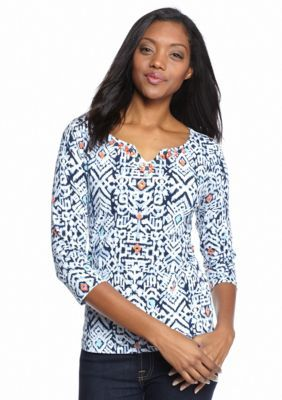 Ruby Rd  Must Haves Tribal Stamp Knit Top