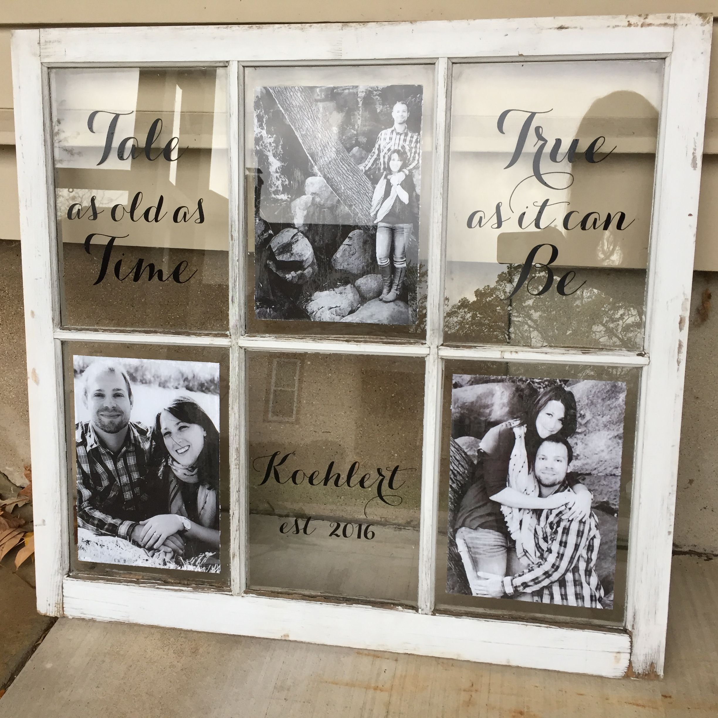 We Used Our Custom Decals And This Customer S Engagement Photos On An Old Window Love How It Turned Out Old Window Crafts Window Crafts Window Frame Decor