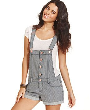 460a629a2b0 Tinseltown Juniors  Striped Shorts Overalls - Juniors Jumpsuits   Rompers -  Macy s