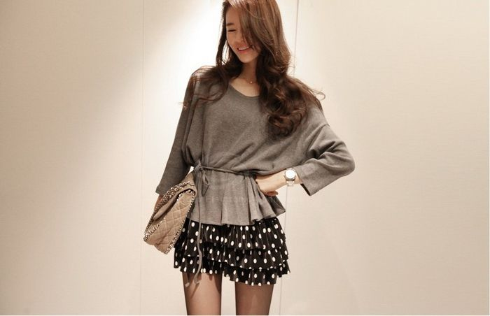 Sweet Round Neck Polka Dot Print Layered Skirt Splice Fake Twinset Design Long Sleeve Loose Fit Dress For Women (GRAY,ONE SIZE) China Wholesale - Sammydress.com$8.50