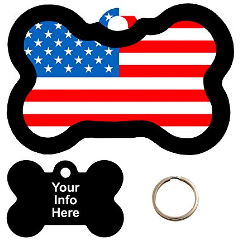 Metal Pet Tag Flag Pet Tag Dog Bone Tag Personalized Pet Tag American Flag Dog Tag Custom Cat Tag Patriotic Pet ID Tag
