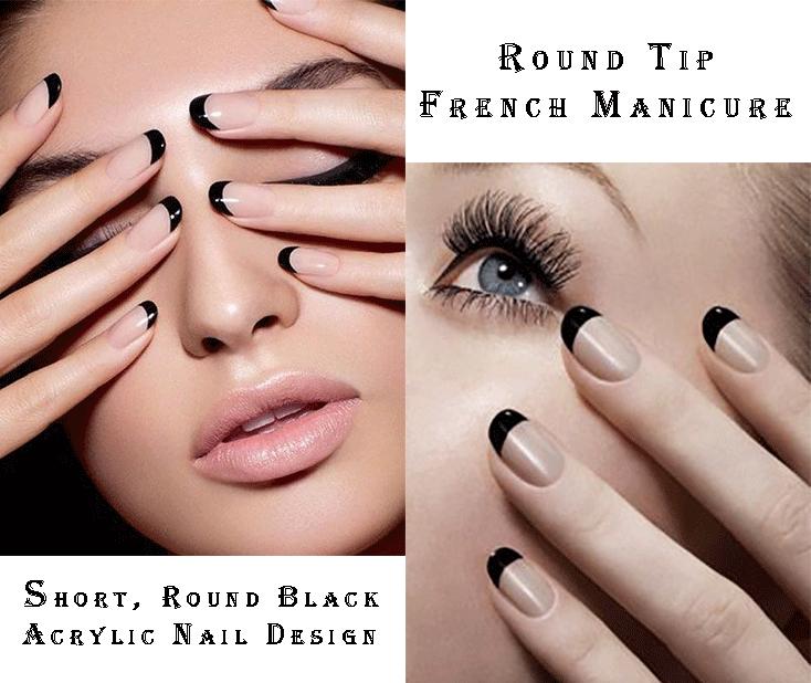 Round Tip French Manicure Short Round Black Acrylic Nail Design Black Acrylic Nail Designs French Manicure Acrylic Nails French Manicure
