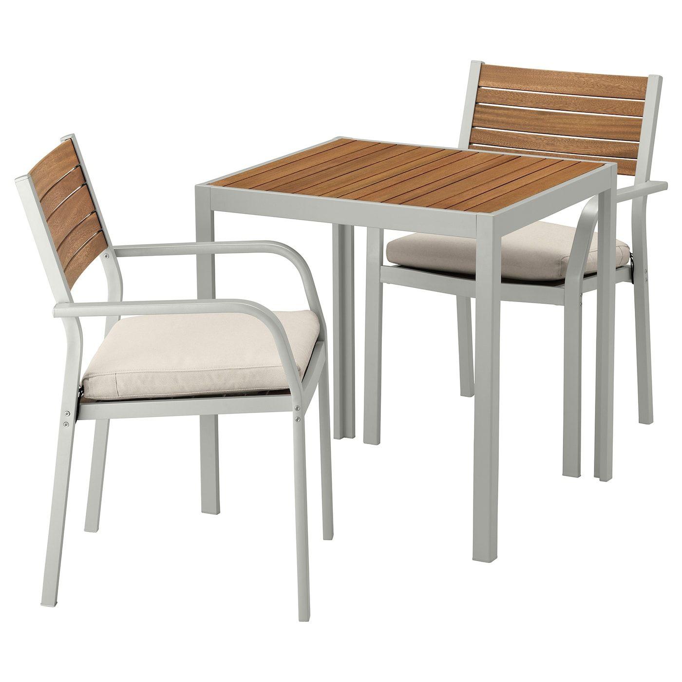 Sjalland Tisch Und 2 Armlehnstuhle Aussen Hellbraun Froson