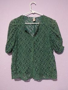 DownEast-Basics-Green-Lace-Back-Cardigan-Sweater-Women-039-s-Size ...