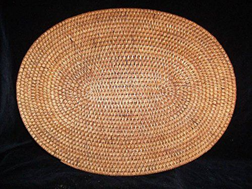 Oval Rattan Placemats Set of 4 Light Honey Brown Color