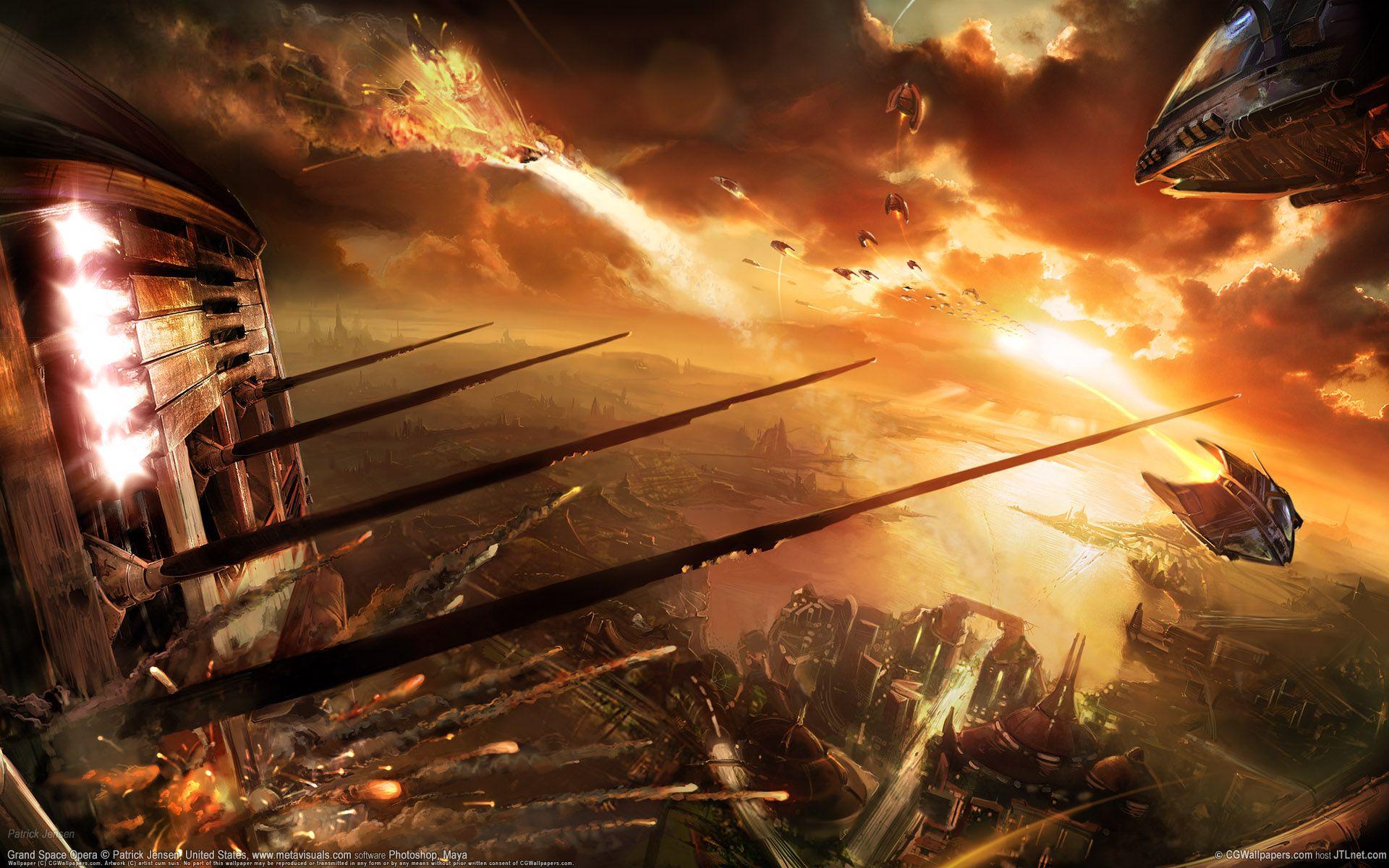 Epic Space War Wallpaper For Windows Tkg Science Fiction Artwork Scifi Fantasy Art Space Battles