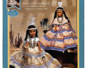 Indian Princess 14 1/2 Inch Crochet Indian Doll Pattern Fibre Craft  3204 #indianbeddoll