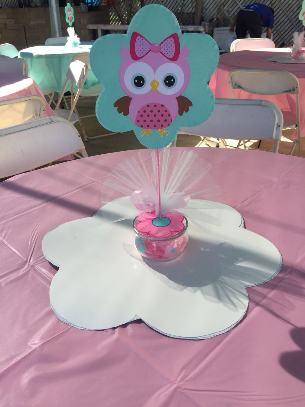 Centerpiece pink baby owl shower