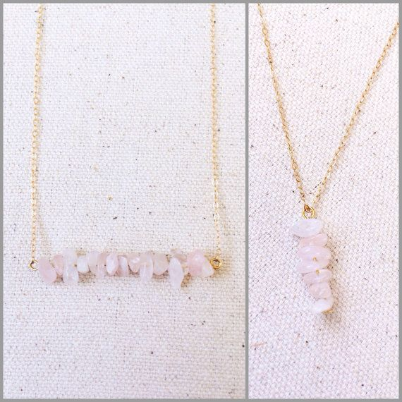 Rose Quartz Chips on 18 inch 14k gold filled chain by CaitLizLee
