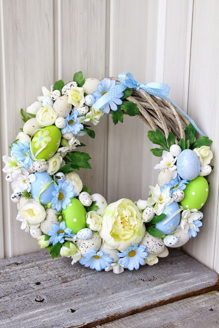 Photo of Cute Blue and green Easter Wreath